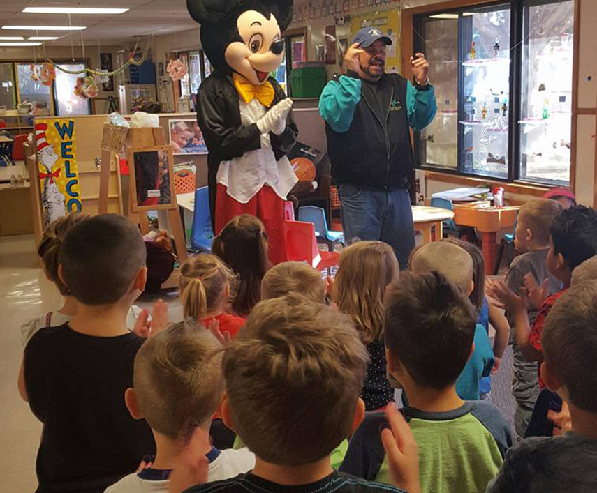 mickey mouse visiting children at a Preschool & Daycare Serving Albuquerque NM